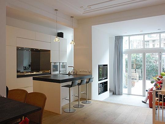 Keukeneiland Bar : aanbouw met lichtstraat en keukeneiland, keukeneiland bij een
